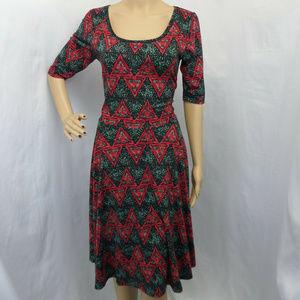RED & GREEN GEOMETRIC PRINT CASUAL NICOLE DRESS